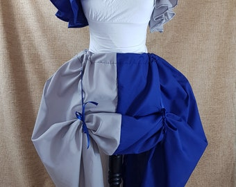 Witch Wizard Half And Half Full Length Blue And Grey House Colours Cosplay Bustle Skirt-One Size Fits All