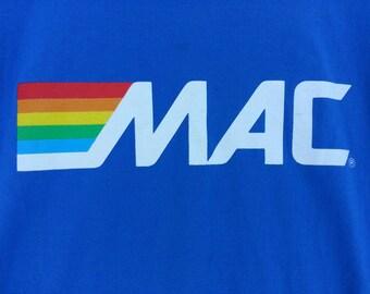 size XL vintage 80s tshirt rainbow stripe and MAC text / ATM promo tee / royal French azur blue