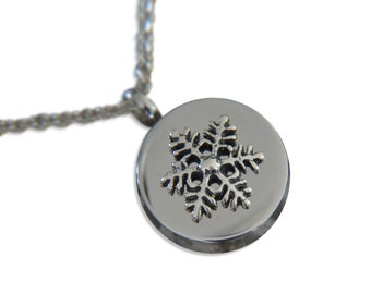 Snowflake Cremation Urn Pendant Necklace Keepsake Sterling Silver on Stainless Steel Just Vial  Key Chain Option Engraving Available 263