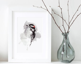 Woodpecker watercolor painting art print