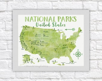 National Park Poster, All United States National Parks on Green Map, Adventure Travel, Yosemite, Yellowstone, Kids Art, Forest Room | WF623