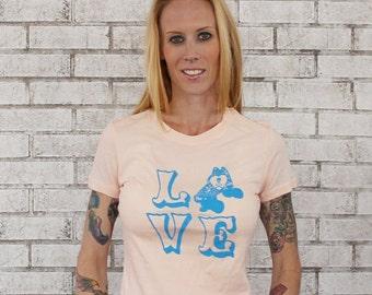 LOVE Roller Derby Tshirt, Ladies Light Peach Cotton Crewneck T Shirt, Graphic Tee, Roller Skate, Short Sleeved, Super Soft Fabric, Pastel