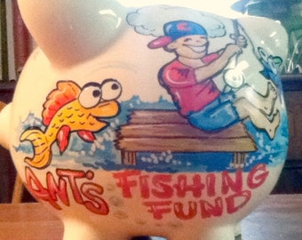 Personalized Piggy Bank Fishing Fund Design