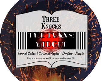 The Twins: Widget - Three Knocks Candles - Book Candle - Night Circus Candle - Scented Soy Candle - 4 oz Tin