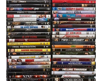 Dvd Movies - Assorted Random Mix. Wholesale Bulk DVDs. Popular Movie Titles. For Home Use Or Resale! Great gift for Friends with no cable!!
