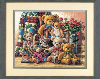 Teddy Bear Gathering Cross Stitch Kit,Cross Stitch Kit,Teddy Bear X-Stitch,Baby room,Home Decor, Baby Girl Gift, Teddy Bear Picture, flowers
