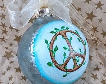 Baby Boy Ornament, Baby Shower Gift Boy, Baby Boy 1st Christmas, First Mothers Day, Blue Peace Ornament, Hand Painted Baby Boy Ornament