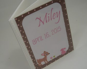 Baby Photo Album, Baby Girl Picture album, 4x6 or 5x7, baby shower gift, brown and pink deer 079