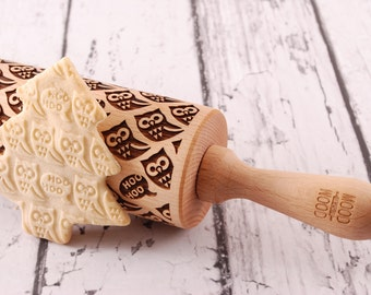 OWL - embossed, engraved rolling pin for cookies