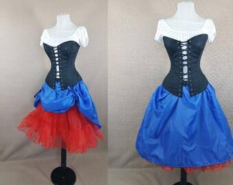 Alice In Wonderland, Snow White, Cosplay, Electric Blue Knee Length Bustle Skirt
