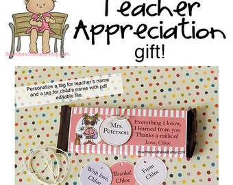 Personalize Teacher Appreciation Candy Bar Wraps / Candy Bar Wrappers / Hershey Chocolate Bar Wraps / Printable Wrappers / Treat for Teacher