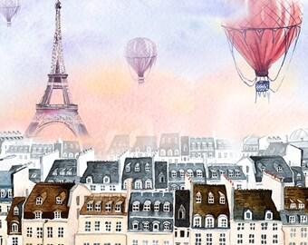 Paris with hot air balloon,Paris watercolor,France, Paris print, Poster, Wall art, Art print, Digital Print, INSTANT DOWNLOAD.