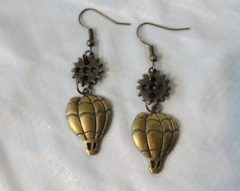 Steampunk  Earrings  Hot Air Balloon