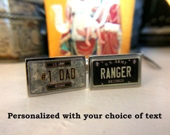 U.S. Army Veteran or Retired Personalized License Plate Cuff Links