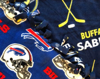 "Buffalo sports Fleece blanket 50"" x 64""  for you washable and reversible"