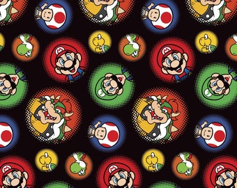 "End of Bolt, Nintendo Super Mario Bros Burst Dots Cotton Fabric from Springs Creative, Super Mario Brothers, Nintendo 39""x44"""