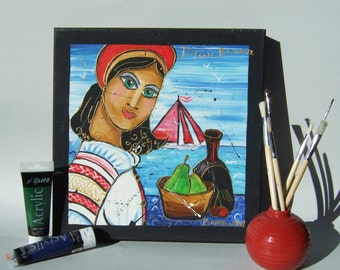 "Original portrait painting ""Romena"" 14""x14""x1,6"" Pop Art acrylic Contemporary See nautical decor Modern romanian beautiful girl KSAVERA"