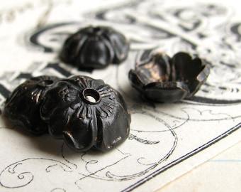 Black Brass 8mm Sakura flower bead cap (4 bead caps) black bead cap, cherry blossom, made in the USA, lead nickel free BC-G-040