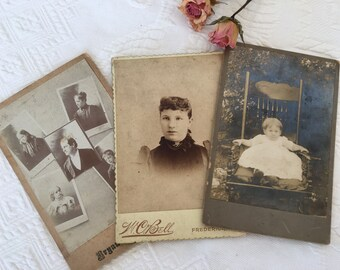 Victorian Portrait Cards from 1891. Portraits in Black and White From c. 1891. Use In Still Life Display Adopt an Ancestor.