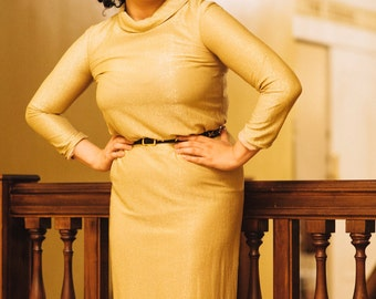 GOLD Lame Vintage Party Long Dress