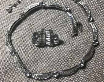 SALE! Trifari Demi Parure White Rhinestone Necklace and Clip On Earrings