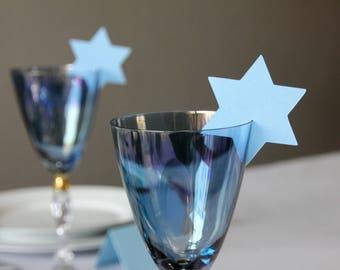 Star of David place cards | Jewish holidays name card wine glass decoration | For Hanukkah, Passover, Shabbat | Jewish holiday table setting