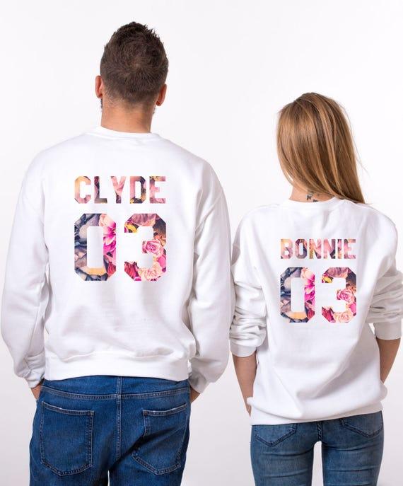 Bonnie Clyde Fleur Sweatshirts, Matching Hoodies, Bonnie Clyde 03, Couples Sweatshirts, Floral Sweatshirts, Set of two, UNISEX