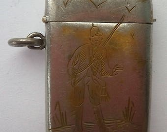 Antique Metal Vesta Case