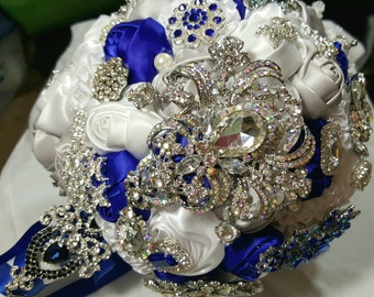 SALE- 50% off Wedding Bridal Flower Bouquet Brooche Satin Rose Swarovski Destination Silver/Blue/White-READY To SHIP  Reg 425.00