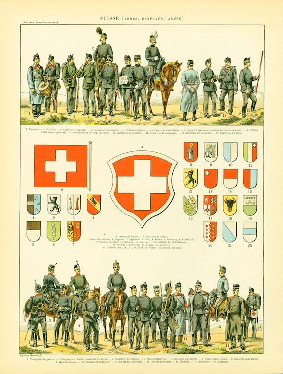 1897 Flags Uniforms Map Swiss Switzerland Army History Antique