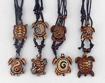 Set of 8 Tribal Sea Turtles Pendants