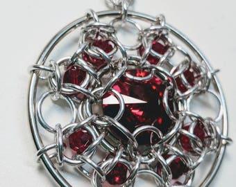 Bulls-eye Chainmaille and Swarovski Pendant