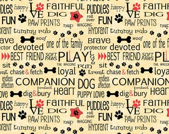 Wilmington Dog Wisdom by Jo Moulton Golden Tan Words Allover # 14612-593 1/2 Yard Free Shipping