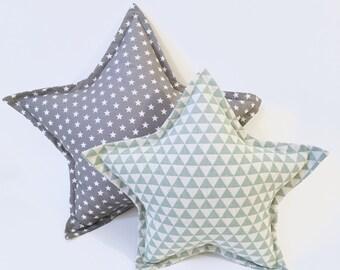 Star Pillow Set | Grey And Mint Star Pillow Set | Grey Star Pillow | Kids Cushion  | Nursery Decor | Kids Room Decor | Star Cushion
