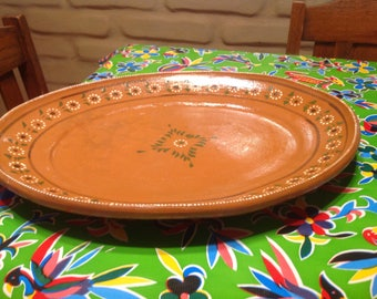Vintage terra cotta red clay hand painted Mexican platter or serving dish