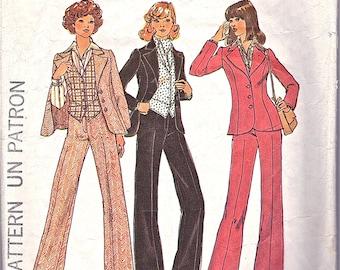 Misses'  Jacket, Pants, Vest, Shirt and Ascot - Simplicity no 7214