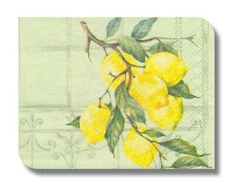Lemon paper napkin for decoupage, mixed media, collage, scrapbooking x 1 (cocktail)  Lemon. No 1098