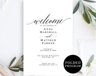 Folded wedding program template Folded wedding program printable Folded wedding programs instant download Boho program Folded program #vm51