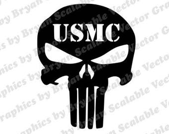 Punisher USMC dxf,png,SVG,EPS files,Silhouette Files,Scan n Cut files,Cricut Files,Digital cut file