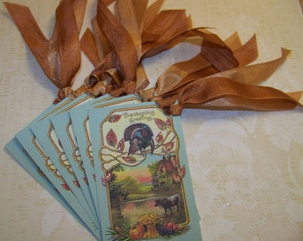 Thanksgiving Tags Thanksgiving Greetings Vintage Style - Set of 6 or 9