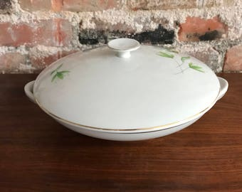 Bohemian China Covered Serving Bowl with Green Flowers/Leaves