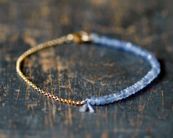 Tanzanite Gold Beaded Bracelet, Precious Gemstone Bracelet, 14k Gold Filled Chain, Arm Candy, Delicate Style Jewelry, Purple Gemstone