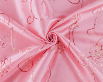 Rose Pink Floral Embroidered Sequin Tissue Taffeta, Fabric By The Yard
