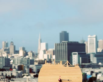 Wall Clock - San Francisco Skyline Clock - Modern Walnut or Cherry Wood Wall Clock - Large Clock - Gift for Him