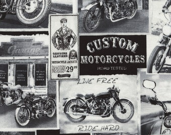 Motorcycle Fabric, Vintage Motorcycle, Auto Ads - Vintage News by Timeless Treasures C 3646 Black & White - Priced by the half yard