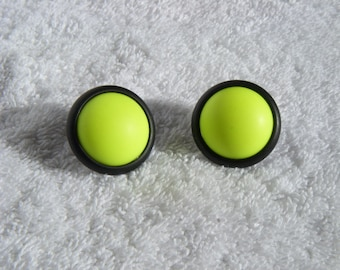 Vintage stud earrings 1980's neon yellow pierced ears 80's earrings
