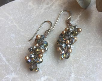 Silver and Gold Beaded Crocheted Cluster Earrings - Sterling Ear Wires