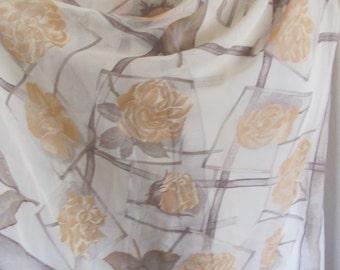 "Longchamp Scarf // Beige Ivory Soft Sheer Silk Scarf // 26"" x 60"" Long // Best of the Best"
