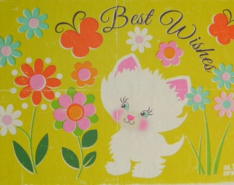 Best Wishes A6 Greeting Card - Kitschy Kitten