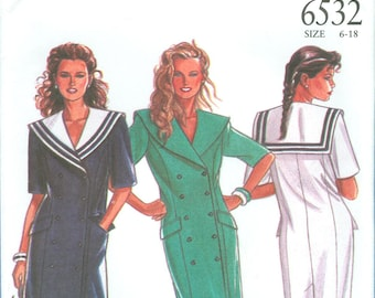 2000s Misses' Double Breasted Dress Uncut Factory Fold Size 6,8,10,12,14,16,18 - Simplicity New Look Sewing Pattern 6532